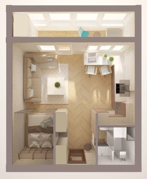 Планировка 18-метровой квартиры