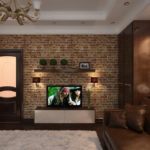 Гостиная со стенами, имитирующими кирпичную кладку