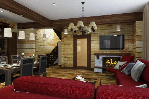 Гостиная в стиле шале с отделкой различными видами дерева