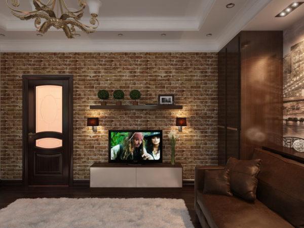 Мягкая кожаная мебель в интерьере гостиной