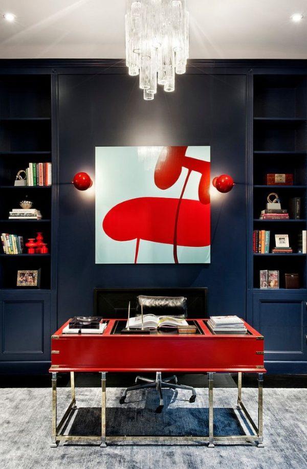 Красный и серый цвета в интерьере выглядят контрастно и стильно