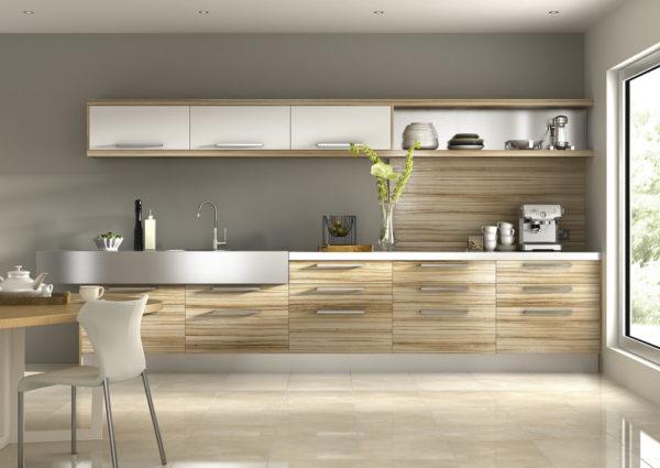 Кухня в серых тонах с металлическими элементами декора