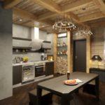 Кухня с частичной отделкой стен деревом