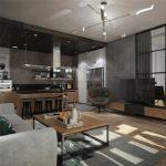 Кухня-гостиная в стиле лофт в серых тонах
