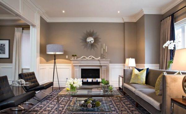Серый цвет в гостиной в стиле арт-деко