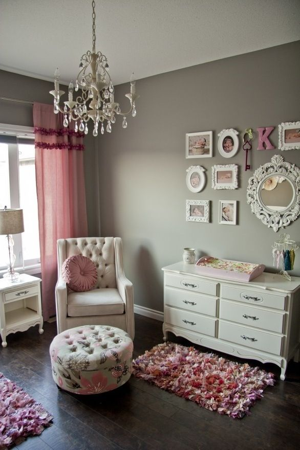 Детская комната в розово-серых тонах