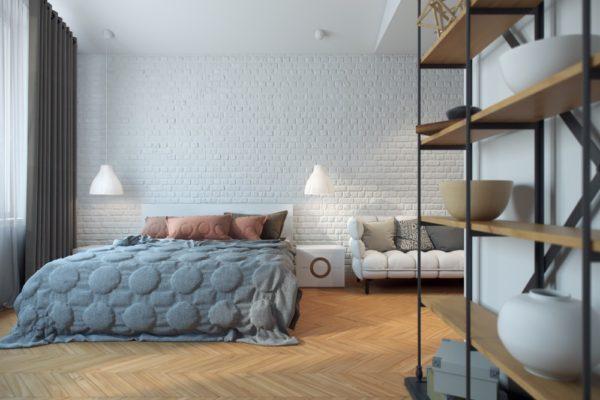 Серый и голубой цвет в интерьере спальни