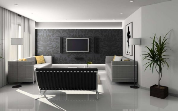 Монохромная гостиная в серых тонах