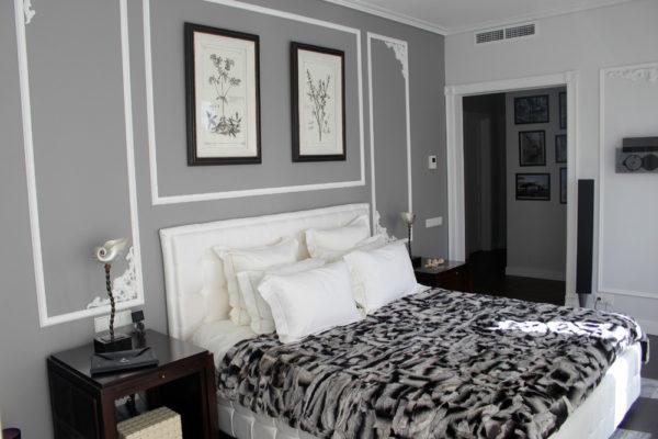 Серый цвет класика спальня
