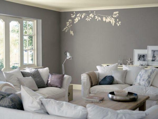 Серый и белый в интерьере гостиной