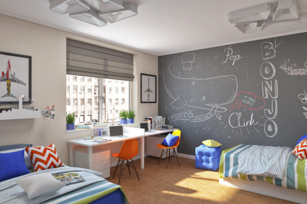 Серый и голубой в детской комнате для мальчиков