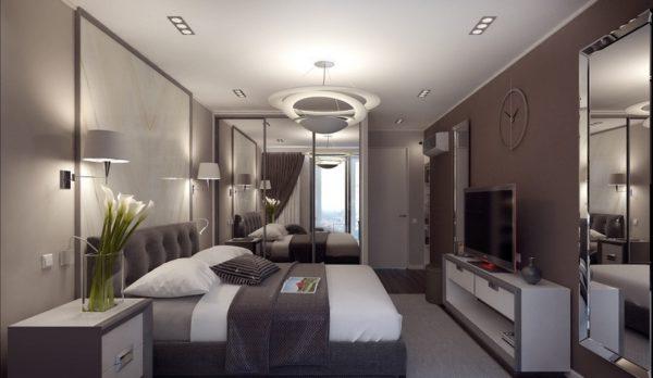 Серый и коричневый в интерьере спальни