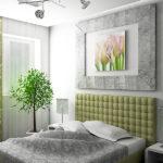 Серый и оливковый в интерьере спальни