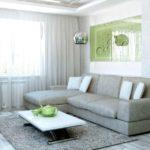 Серый и оливковый в интерьере гостиной
