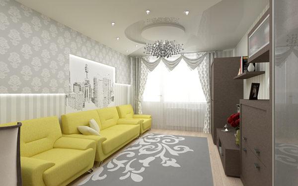 Серый интерьер гостиной с мебельюсветло-жёлтого цвета