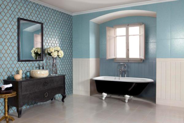 Серый и голубой в интерьере ванной комнаты