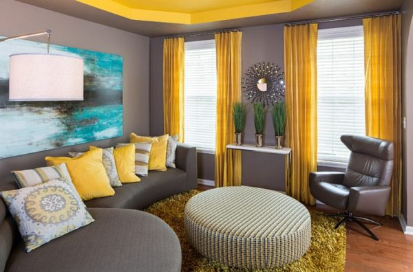 Жёлтый и серый интерьер