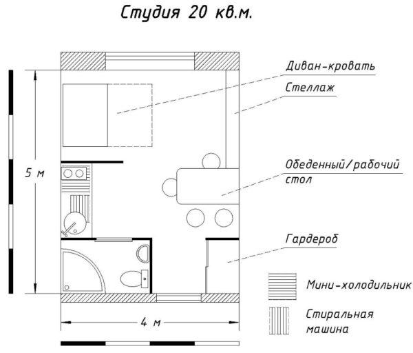 Чертеж квартиры-студии