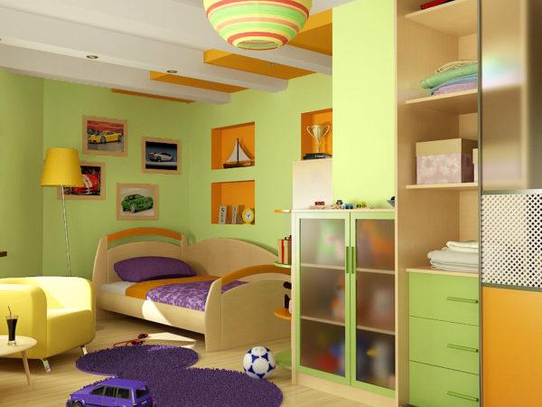 Детская комната с оранжевыми и фиолетовыми акцентами