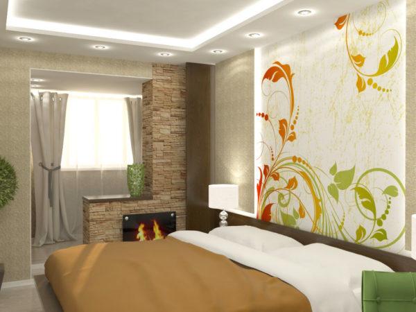 Лоджия, переходящая в спальню с декоративным камином