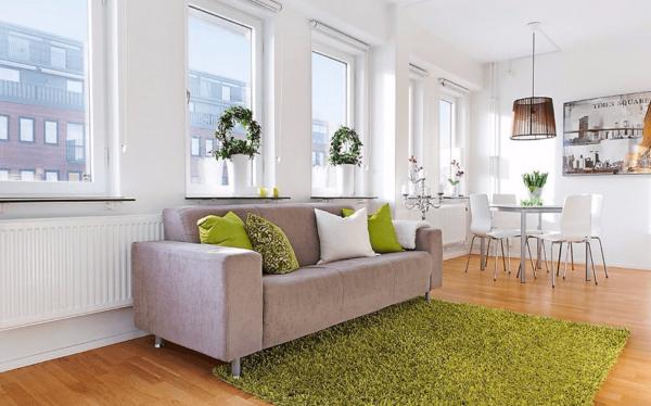 Оливковый ковёр в гостиной