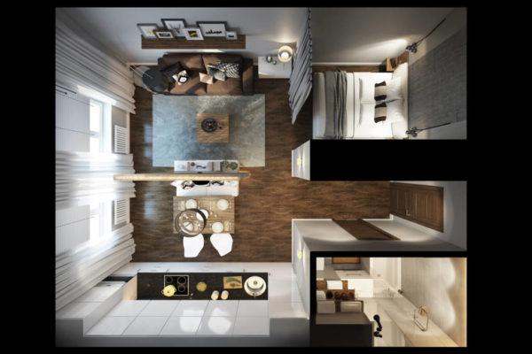 Пример планировки квартиры-студии