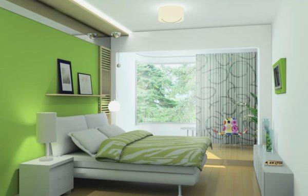 Спальня в стиле хай-тек в бело-салатовых тонах