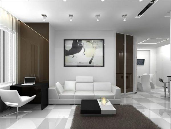 Стиль минимализм в квартире-студии