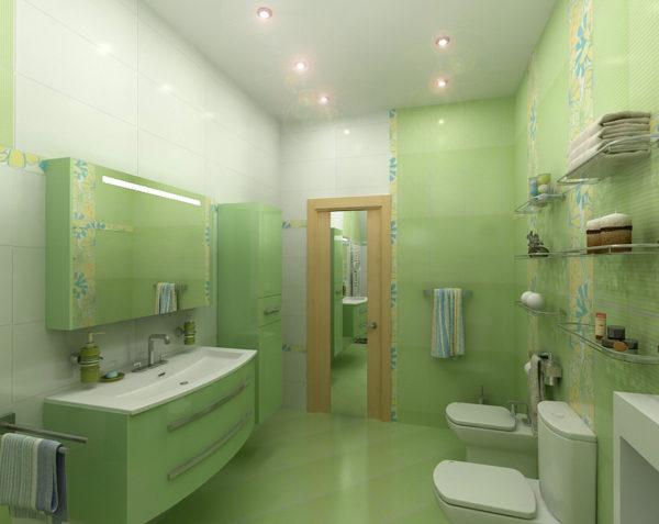 Ванная зелёный и белый цвет