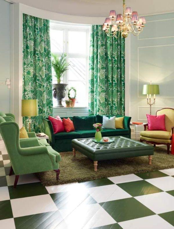 Зелёный и белый в дизайне гостиной