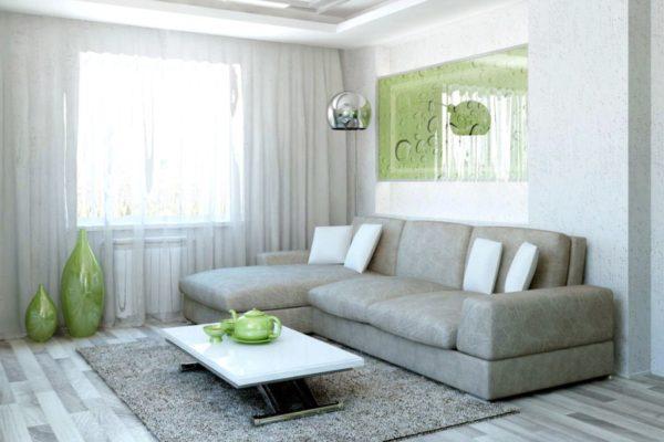 Зелёный и серый интерьер