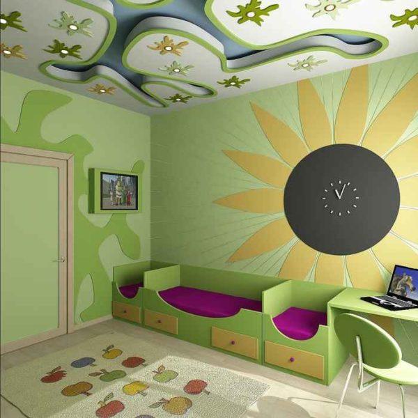 Интерьер детской со сложным потолком