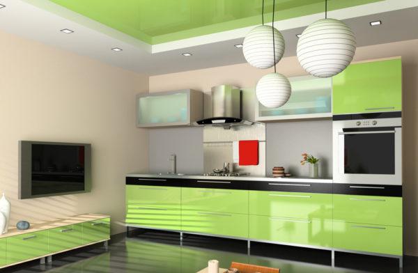 Фисташковый интерьер кухни