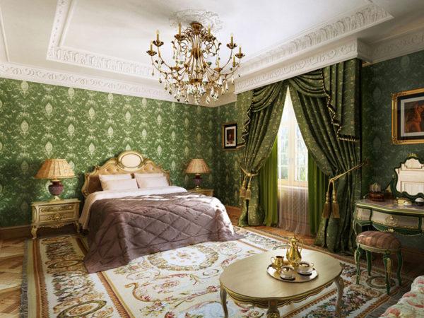 Интерьер спальни в зелёных и коричневых тонах