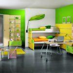 Зелёный и жёлтый в интерьере детской