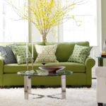 Оливковая мбель в интерьере гостиной