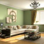 Серо-зелёный отеенок в интерьере гостиной