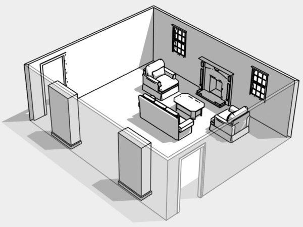 План симметричной расстановки мебели
