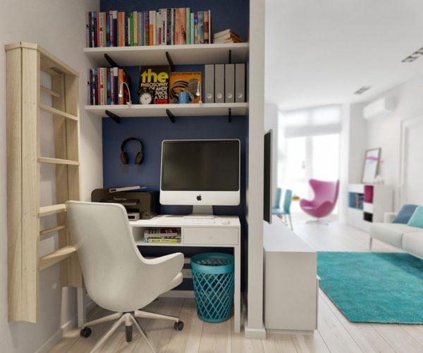 Кабинет в однокомнатной квартире