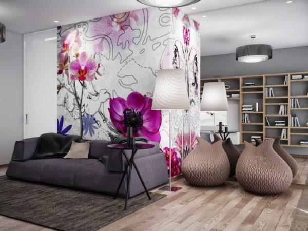 Однокомнатная квартира с ярким принтом