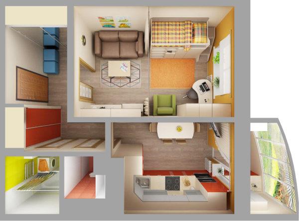 Планировка однокомнатной квартиры с детской