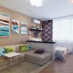 Однокомнатная квартира с модульной картиной