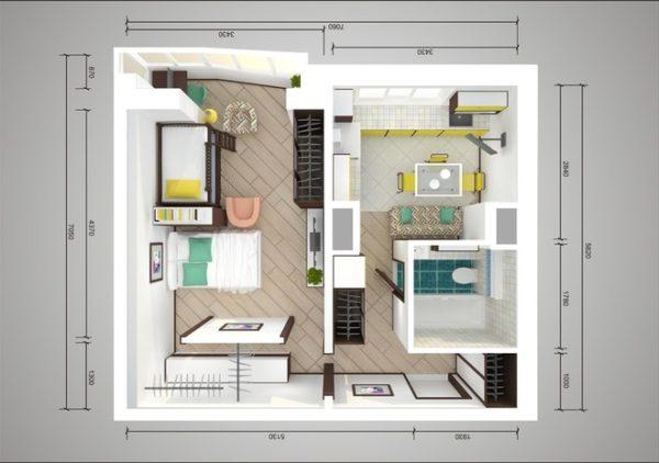 Планировка семейной однокомнатной квартиры