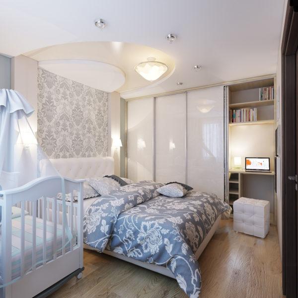 Детская кровать в спальне родителей