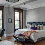 Изголовье кровати из бархатистой ткани