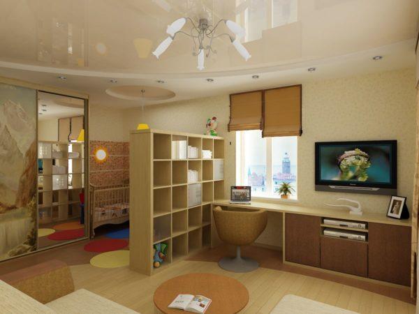 Дизайн комнаты со стеллажом