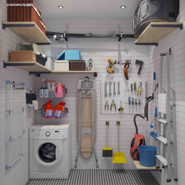 Кладовка для хранения бытовой химии с пылесосом и стиральной машиной