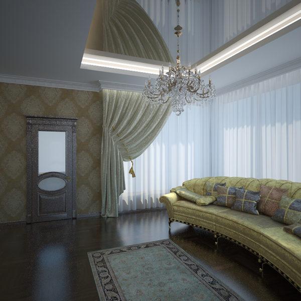 Люстра с хрустальными подвесками в гостиной