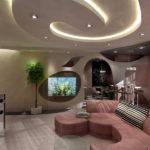 Необычное освещение гостиной