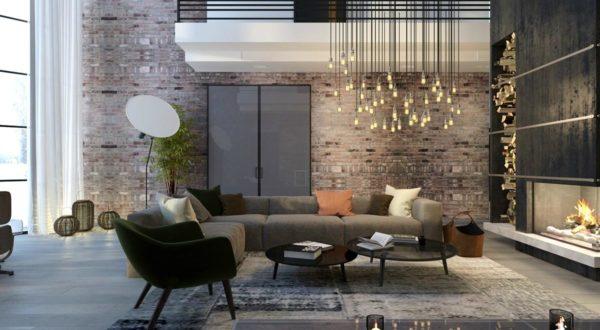 Освещение в гостиной в стиле лофт